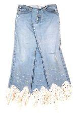 Jessie U.S.A. Vintage Levis Remake Recycled Maxi Denim Skirt Stud Detail sz L