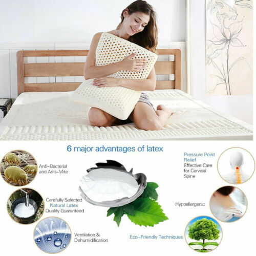 Standard Size NATURAL LATEX PILLOW Breathable Comfortable With Pillow Cover