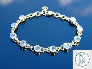 Solid 925 Sterling Silver Rainbow Moonstone Natural Gemstone Elegant Bracelet
