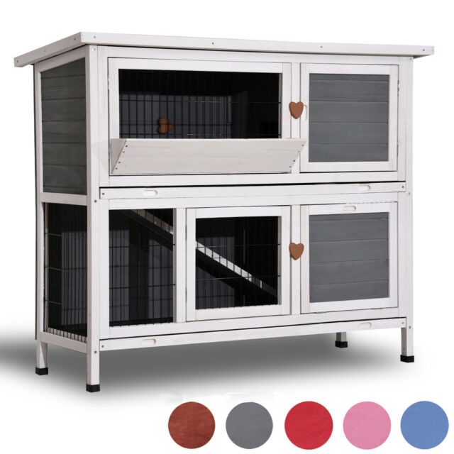 40 Wooden Rabbit Hutch Small Animal House Pet Cage Chicken Coop 0323l Blue For Sale Online Ebay