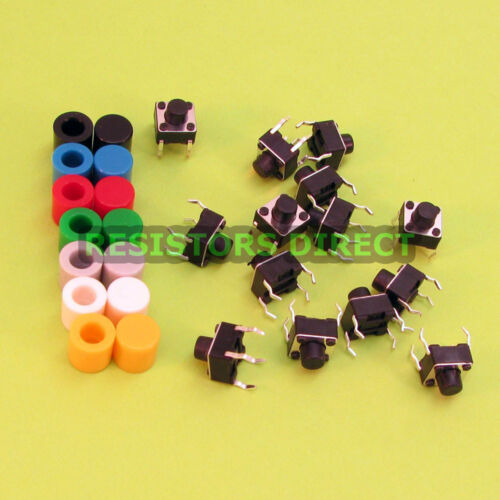 14pcs 6x6x6 Tactile Tact Switch /& 7 Color Button Caps Momentary U95