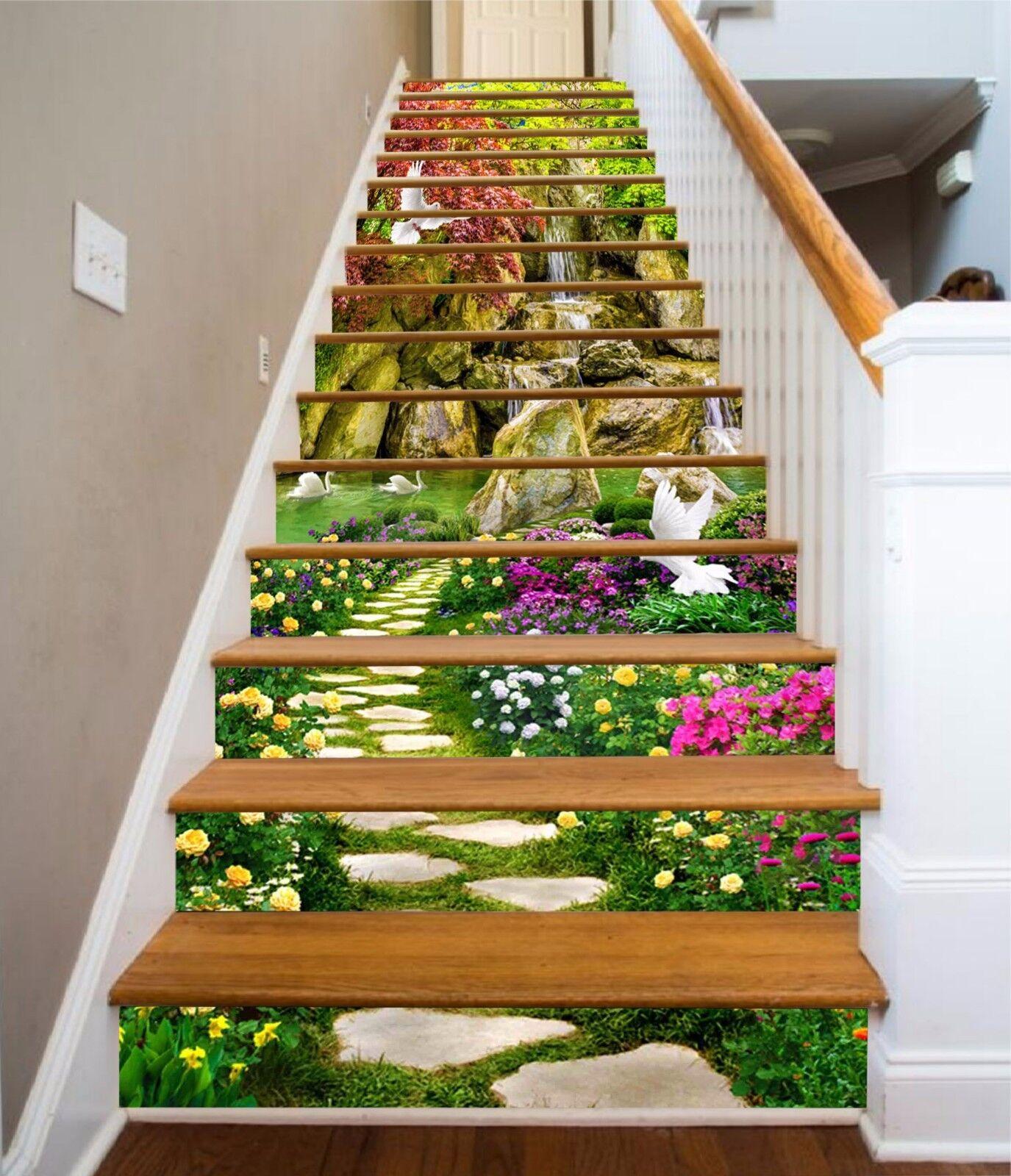 3D Flowers Birds 19 Stair Risers Decoration Photo Mural Vinyl Decal Wallpaper AU