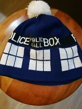 Dr Doctor Who Adult Tardis Knit Pom Costume Beanie Cap Hat Elope Licensed New