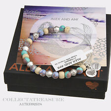 Authentic Alex and Ani Voyage, Tropical Rafaelian Silver Charm Bangle