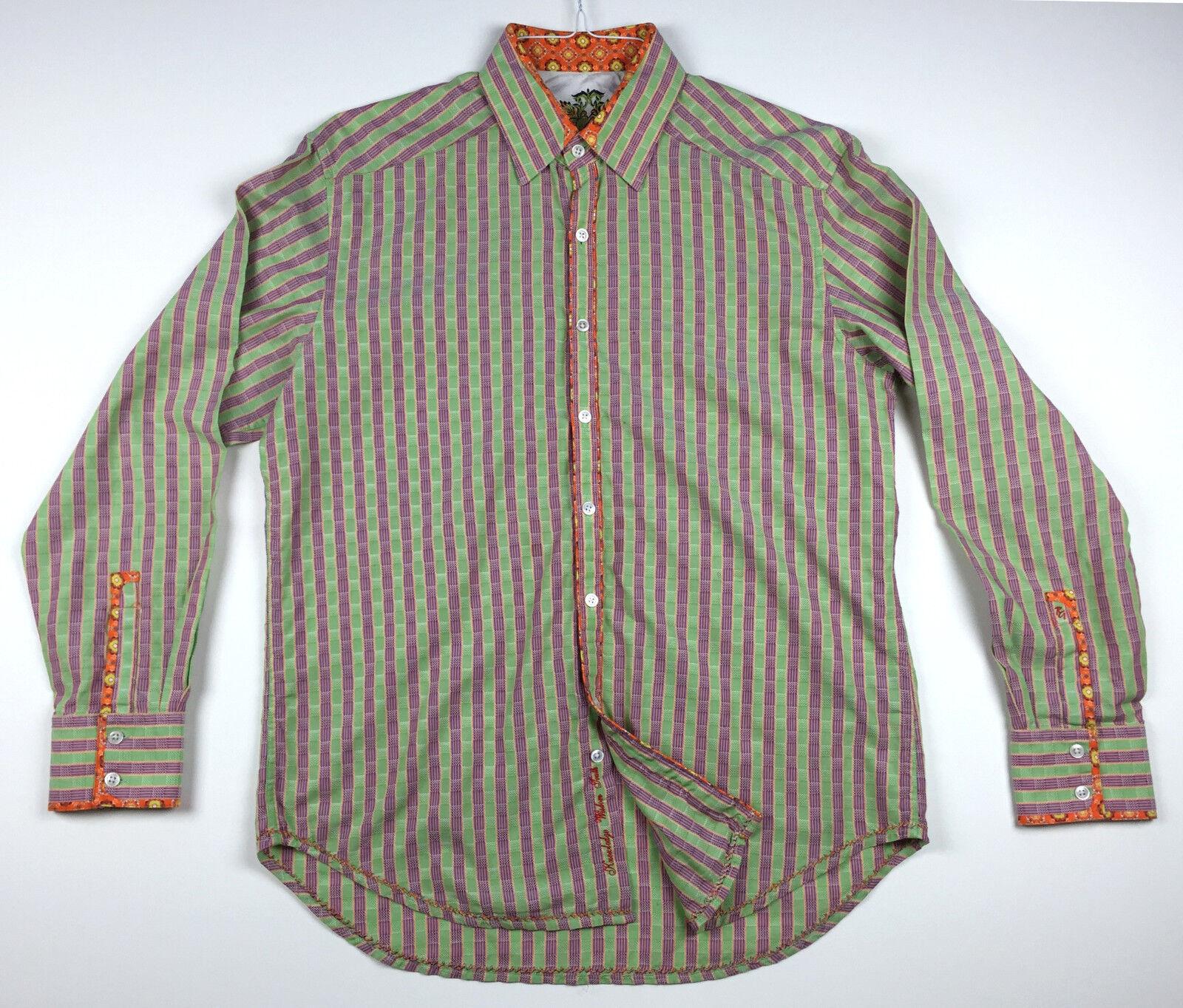 ROBERT GRAHAM Men's Button Front Long Sleeve Casual Shirt Size L Large