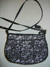 Coach Ocelot Metallic Silver Lurex Leopard Black Patent Leather Purse Bag Small