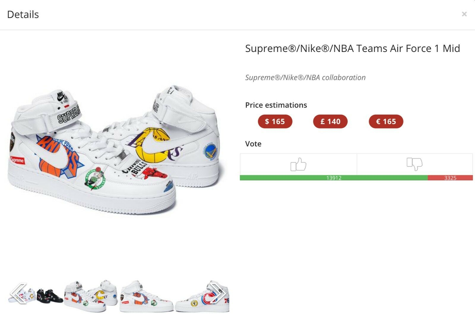 IN HAND READY TO SHIP Supreme x Nike x NBA Teams Air Force One White Size 10