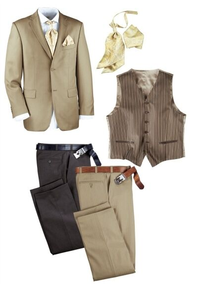 6tlg. Studio Coletti Anzug Set Gr.44 NEU Beige Herren Sakko 2x Hose Weste Suit
