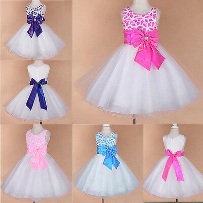 Flower Girls Princess Bow Dress Toddler Kids Wedding Party Pageant Tulle Dresses