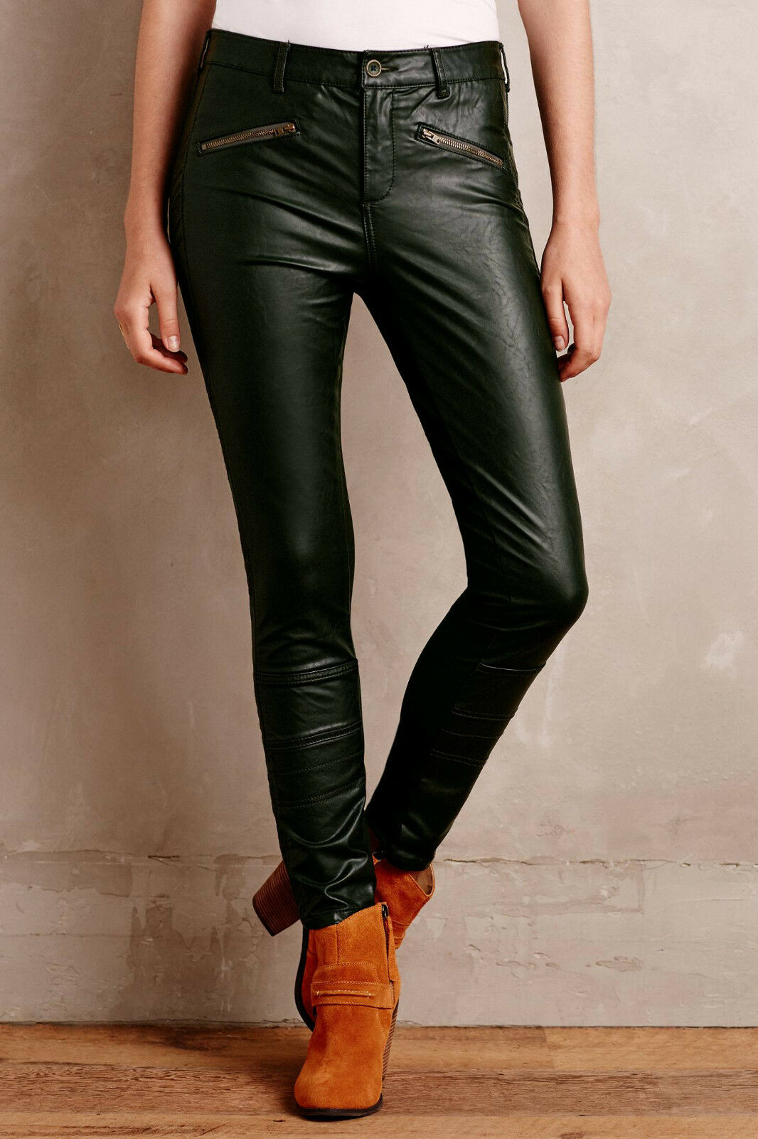 Pilcro Vegan Leather Moto Pants Size 31 Holly (Green) color NW ANTHROPOLOGIE Tag