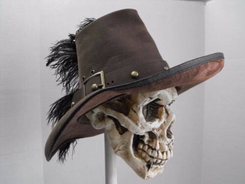 Conquistador brown leather hat pirate feather costume reenactment cosplay