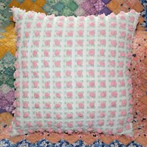 Throw-Pillow-From-Vintage-Morgan-Jones-Pink-Rosebuds-Cotton-Chenille-Bedspread