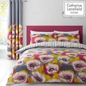 Catherine-Lansfield-modernista-amapola-easycare-Floral-Duvet-Juego-de-cama-gris