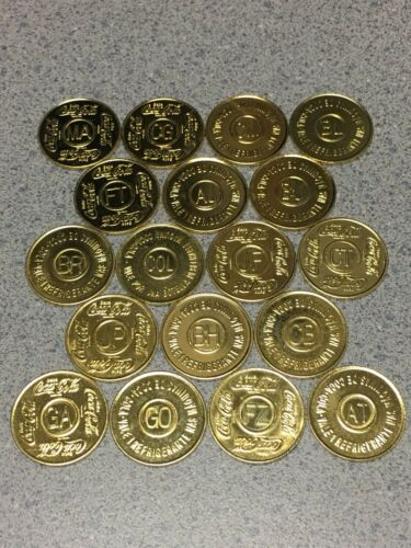Brazil, Columbia, etc 18 Different Coca Cola Coin Vending Machine Token Uncirc