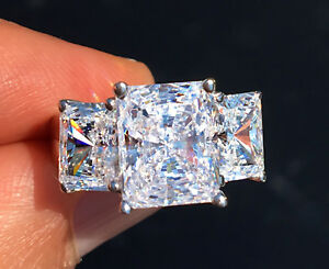 Other Fine Rings Triple Radiant Cut Ring 2.5 Ct Tw.top Russian Quality Cz Imitation Moissanite 4
