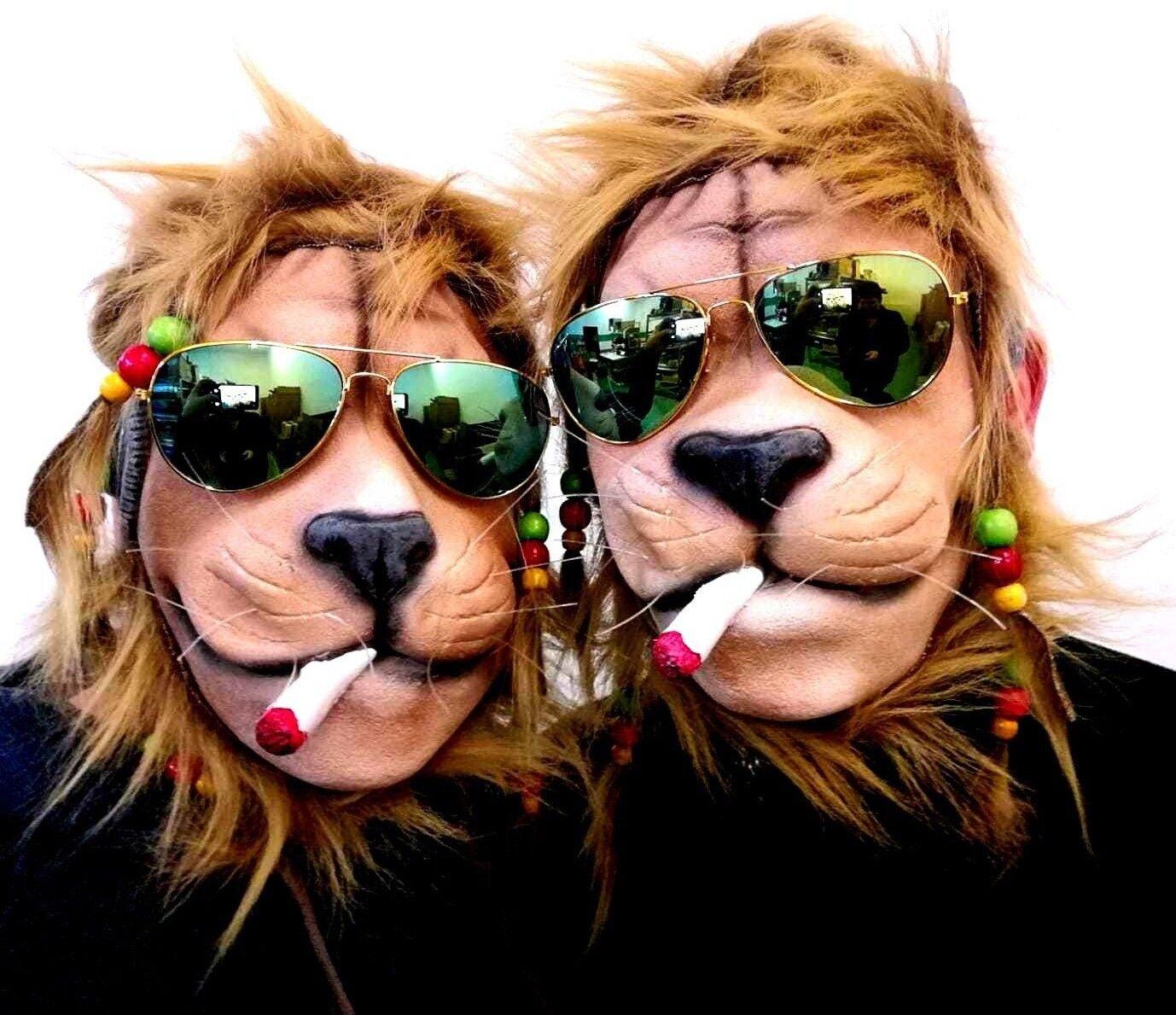 2 x Maske Löwe Joint Rasta Rasta Rasta Zöpfe Brille Reggae Tiermaske Partylöwe Hippie | Rich-pünktliche Lieferung  808cc8