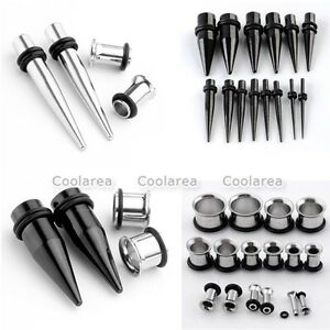 2-Pair-Stainless-Steel-Taper-Stretcher-Single-Flared-Ear-Tunnel-Plugs-Expander