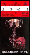 1987 CFL ticket stub 75th Grey Cup FOOTBALL B C STADIUM Eskimos vs Argonauts NM