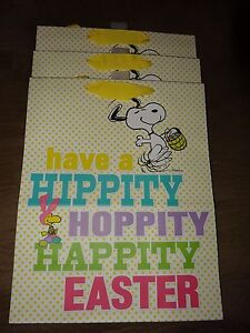 3 peanuts snoopy woodstock easter gift bags hallmark new approx image is loading 3 peanuts snoopy amp woodstock easter gift bags negle Images