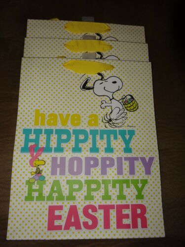 "3 Peanuts Snoopy & Woodstock Easter Gift BagsHallmarkNewApprox. 10 12"" X 13"""