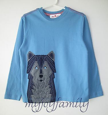 HANNA ANDERSSON Get Appy Tee Shirt Lakeside Blue Wolf 130 8 NWT
