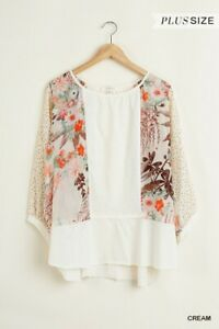 Umgee-Floral-Bohemian-Print-3-4-Puff-Sleeve-Top-Plus-Size-XL-1XL-2XL