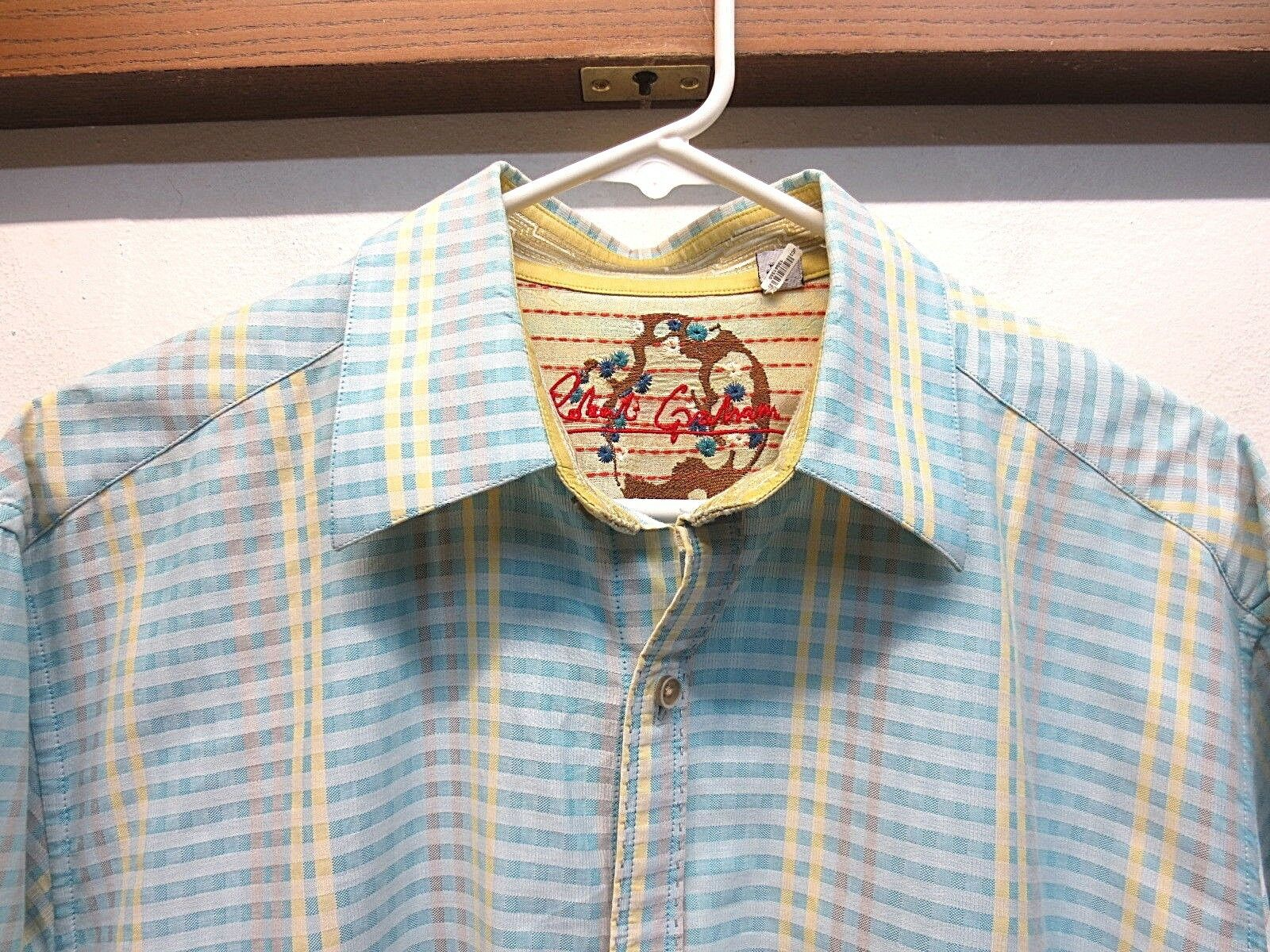 EUC Mens Robert Graham Button Front Shirt bluee Yellow Plaid Textured Size Large