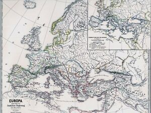 147-Jahre-alte-Landkarte-EUROPA-526-n-Chr-ROM-Kaiser-Justinian-1872