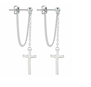925 Sterling Silver ~ Cross on Chains ~ Dangle Earrings~
