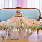 Luxury Champagne Appliques Baby Baptism Dresses Long Crystal Christening Gowns