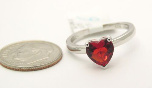 #R30707S 0.88ct Ruby Red Helenite Heart Shape Sterling Silver Ring