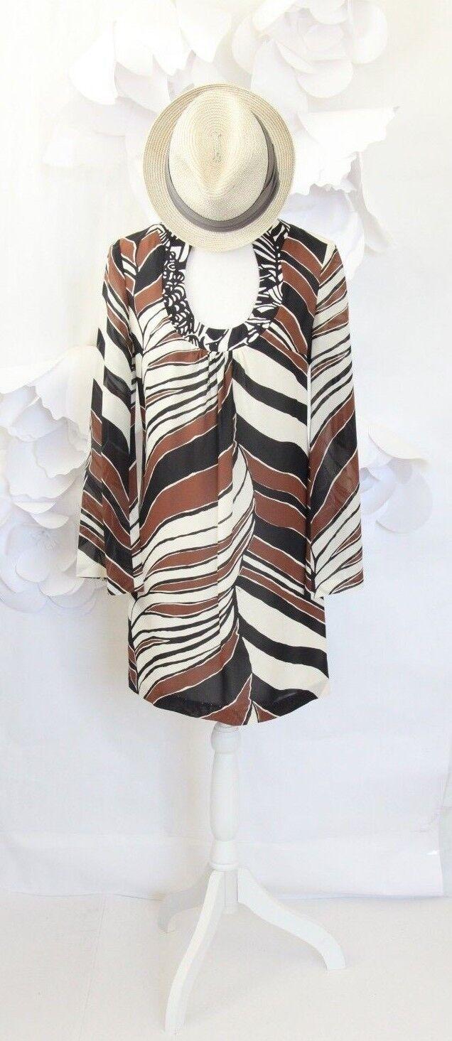 195de55235 Trina Turk Women's Striped Shift Dress Beach Cover-Up 0 XS XS XS Silk Brown  Ivory LS 3fe393