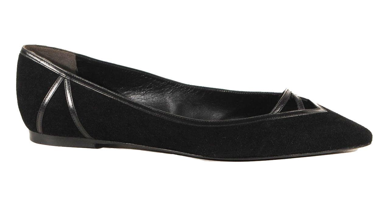 495 Ralph Lauren viola Label nero Rianne Kidsuede Leather Flat Flats scarpe