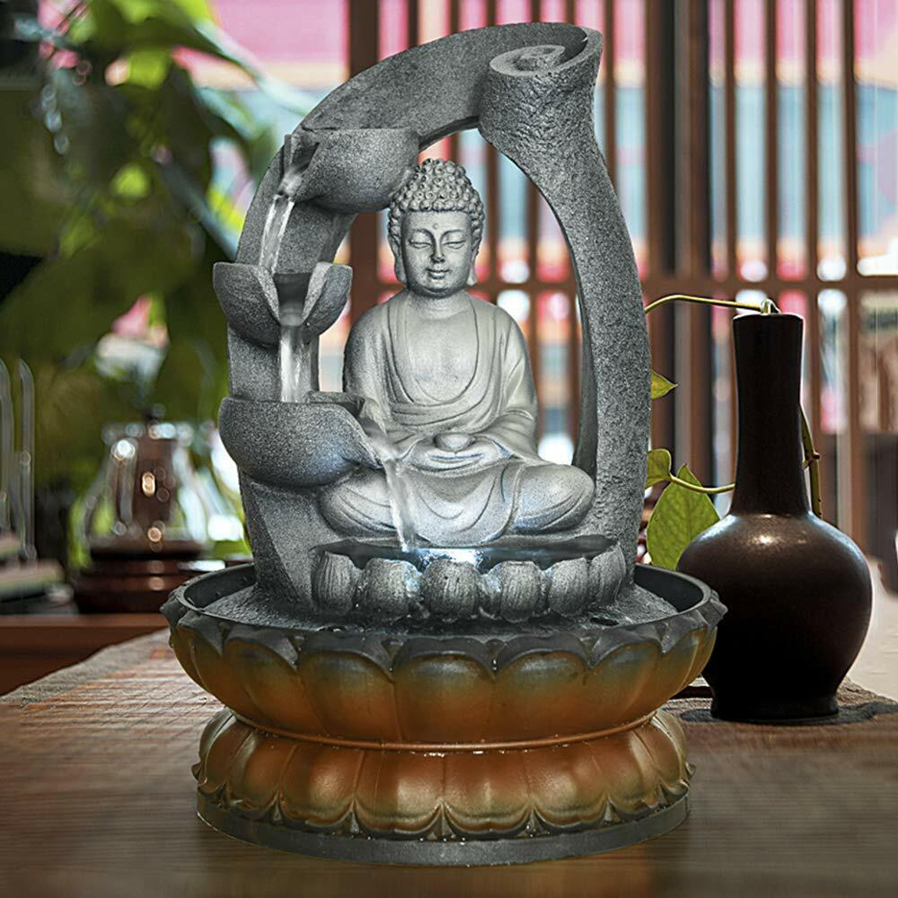 11in Buddha Tabletop Water Fountain Home&Office Decoration Sculpture LED Light