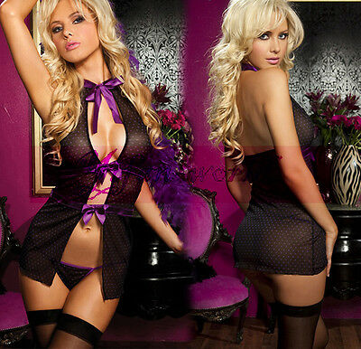 Sexy Women's Lingerie Black Halter Backless Sheer Sleepwear Plus Size M/XL/3XL