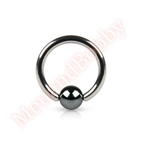 Hematite Bead Captive 316L Surgical Steel Bar Ring Hoop Body Piercing Jewellery