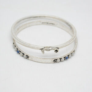 Lucky-Brand-jewelry-matte-silver-double-bangle-set-seahorse-bracelet-for-women