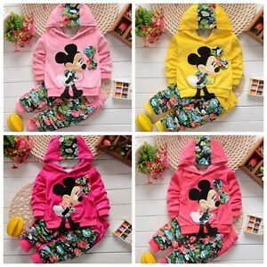 100-Cotton-Kids-Baby-Girls-lovely-Cartoon-hooded-coat-Printed-pants-Outfits