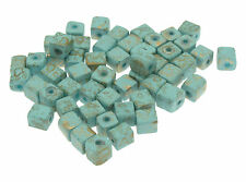 100 Turquoise Coloured Matt Cube Beads with Brushed Gold Effect size 6x6mm