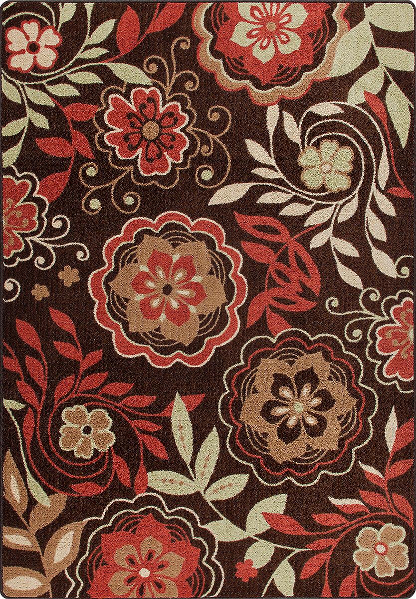 4x6 Milliken Garden Passage rosso Modern Floral Area Rug - Approx 3'10 x5'4