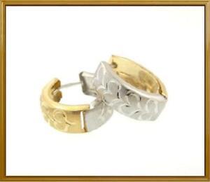 14K-Yellow-amp-White-Gold-Heart-Hoop-Fashion-Pierced-Earrings