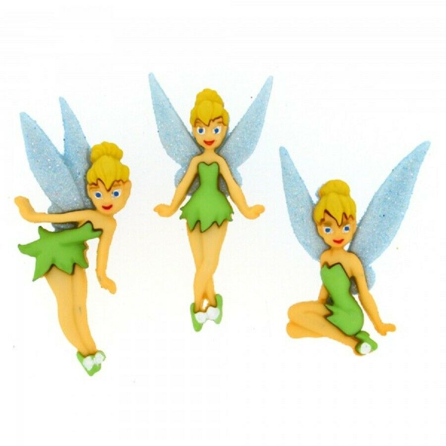 Flower Fairies Glitter Dress It Up Novelty Craft Buttons Embellishments 3 Pieces