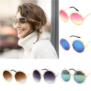 4499e516cdf1 Oversized Women's Glasses Summer Gift Round Metal Circle Mirror Lens ...