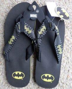 NEW MEN'S BATMAN DC COMICS FLIP FLOPS SANDALS SUPERHERO SIZE XL 12-13 NWT RP