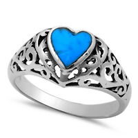 Natural Blue Turquoise Heart .925 Sterling Silver Ring Sizes 5-10