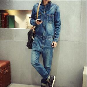 Image is loading Mens-Denim-One-Piece-Jumpsuits-Trousers-Dungarees-Cargo- 87be4bc283d