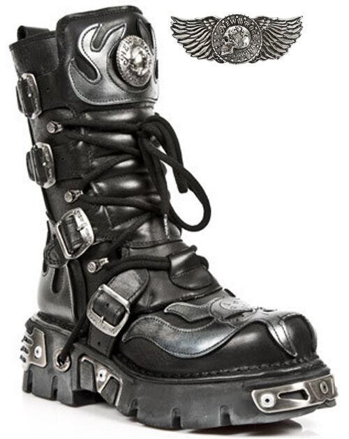 Grandes zapatos con descuento New Rock New Rock 107-S2 Silver Skull Devil Black Leather Biker Goth Rock Boots