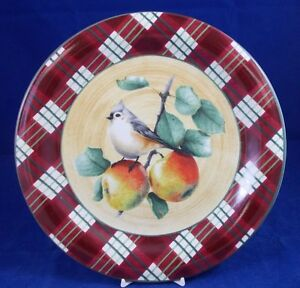 Lenox-WINTER-GREETINGS-TARTAN-Tufted-Titmouse-Dinner-Plate-GREAT-CONDITION