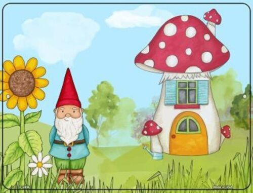 GNOME AND MUSHROOM HOME METAL DECORATIVE PARKING SIGN