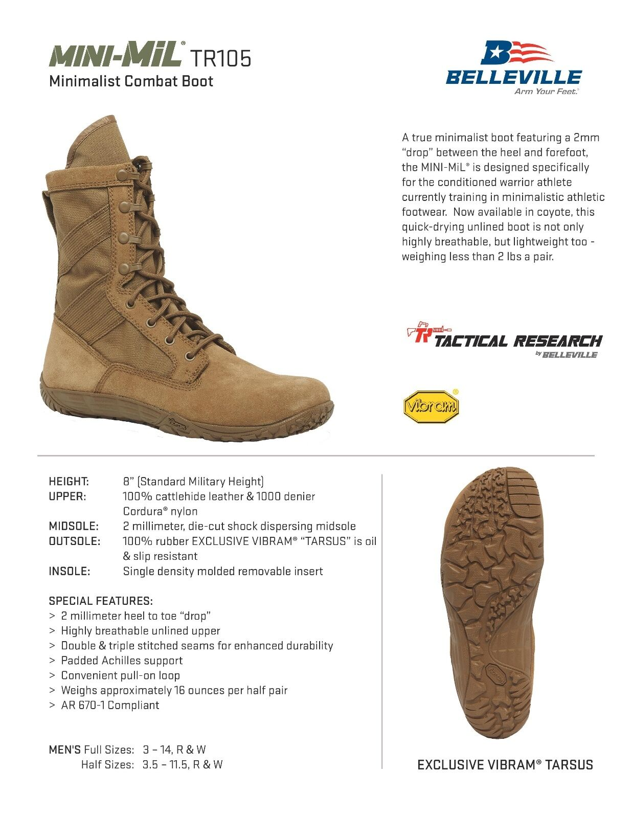 BELLEVILLE TR105 TACTICAL RESEARCH MINIMALIST COMBAT BOOTS * ALL ALL * SIZES - NEW 67b972